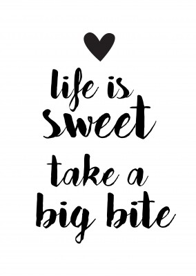 Black calligraphy with heart on white ground saying life is sweet–mypostcard