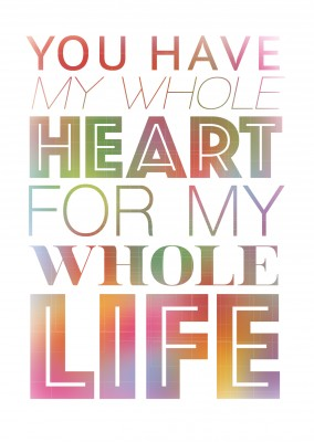 colorful quote love postcard