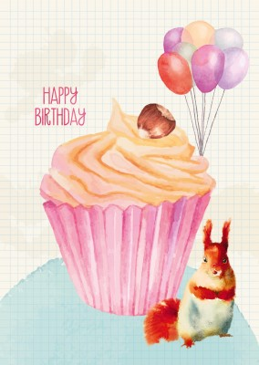 Happy Birthday illustration with muffin and squirrel painted in water colour–mypostcard