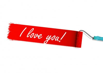 paint roller red color i love you postcard design