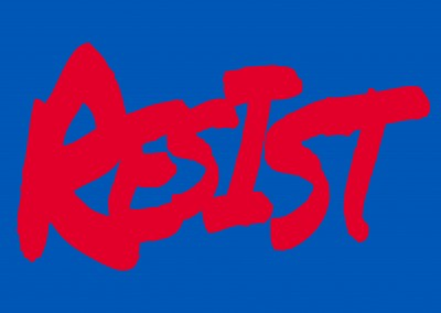 red resist handwritin on blue background