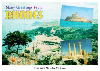 photocollage Rhodes retro style