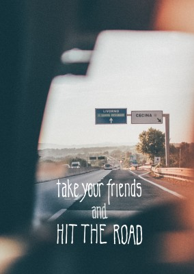 greetingcard with a photo of a highway