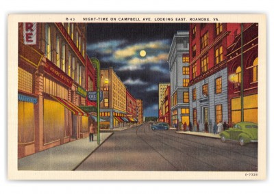 Roanoke, Virginia, Campbell Avenue at night