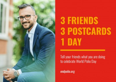 End polio now –  3 Friends, 3 postcards, 1 day