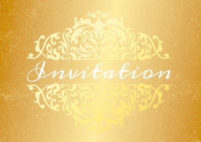 golden glitter ornament invitation