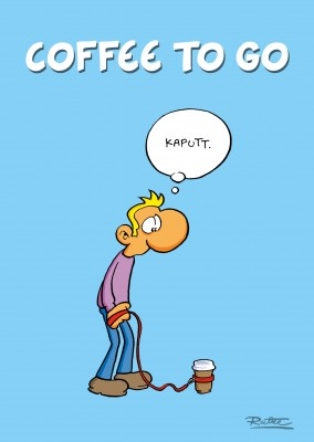 Ruthe Cartoon: Mann mit Kaffebecher an Hundeleine–mypostcard