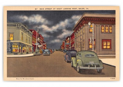 Salem, Virginia, main Street looking west at night