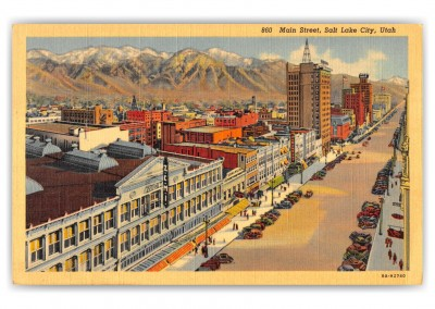 Salt Lake City, utah, birds-eye of main street