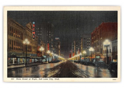 Salt Lake City, Utah, main Street on a rainy night
