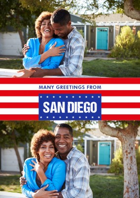 San Diego greetings in US-flag design