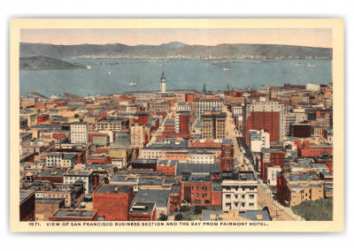 San Francisco, California, fairmont hotel view of business section and bay