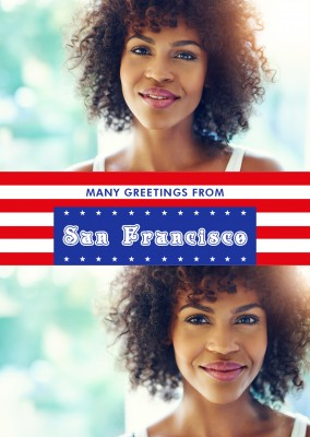 San Francisco greetings in US Flag design