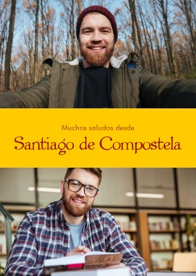 Santiago de Compostela Spanish greetings in country-typical colouring & fonts