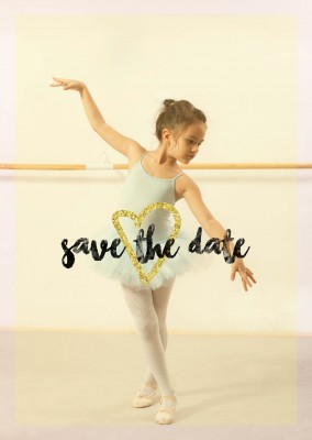 Save the date with golden heart and yellow background
