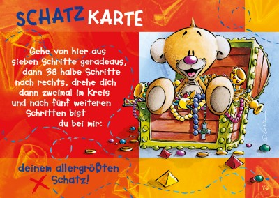 schatzkarte spruch postkarte