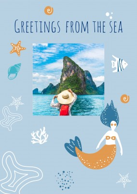 Meridian Design Postkarte Meridian Design – Greetings from the sea