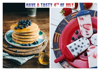 photo collage American style pancake and ice cream lollipops