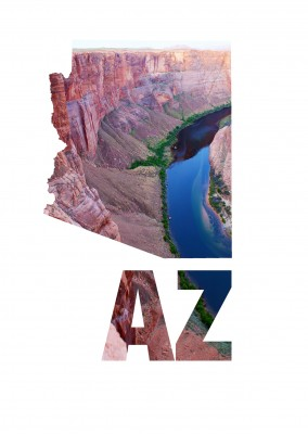Arizona state shape on photo of Horseshoe Bend