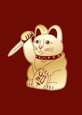 Illustration Maneki-neko with knife