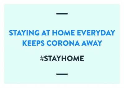 postcard saying Staying at home everyday keeps Corona away