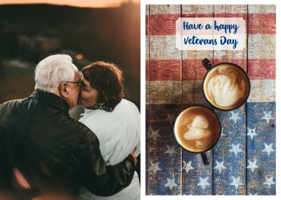 photo US flag two cups of coffee