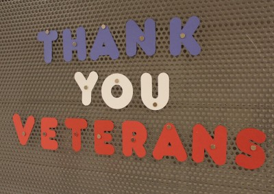 photo thank you veterans retro lettering