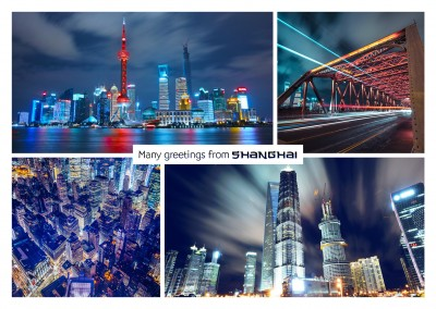 photocollage of Shanghai by night