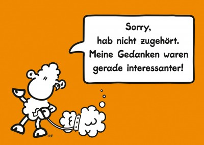 sheepworld schaf postkarte original orange spruch