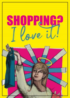 postcard saying Shopping I love it