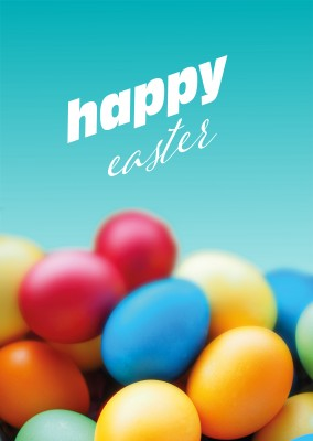 Happy Easter wishes with coloured eggs Foto–mypostcard