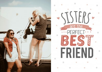 White card withe the quote: sisters are the perfect best friend