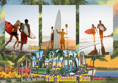 vintage greeting card saluti dalla Florida, lo stato del sole