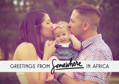 Greetings from Somewhere in Africa black text on grey rectangle