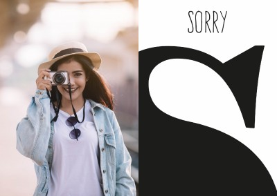 apology-greeting card with bis S-letter in black and white