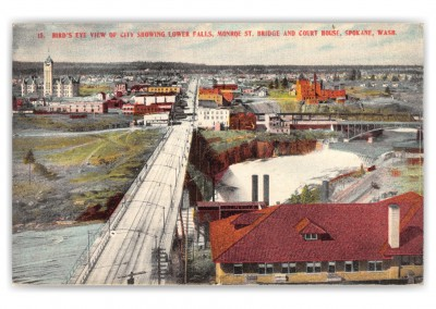 Spokane, Washington, birds-eye view of city