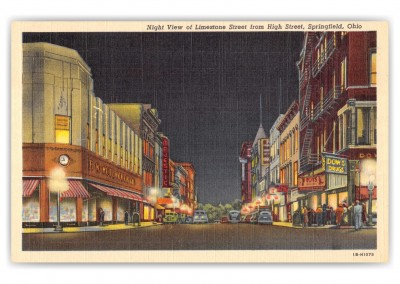 Springfield, Ohio, Limestone Street from High Street at night