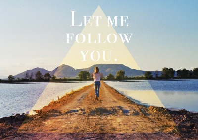 let me follow you spruch postkarte motiv
