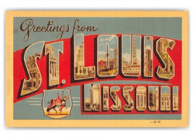 St. Louis Missouri Greetings Large Letter