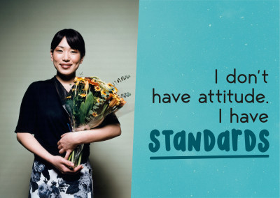 I don't have an attitude, I have standards. Cloud sfondo.