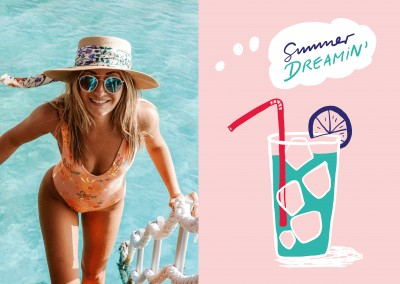 Summer dreamin text. Cocktail on a pink background