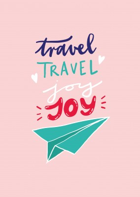 Travel, travel, joy, joy. Handwritten text on pink background