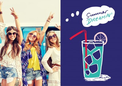 Summer dreamin text. Cocktail on a blue background