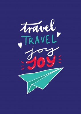 Travel, travel, joy, joy. Handwritten text on blue background