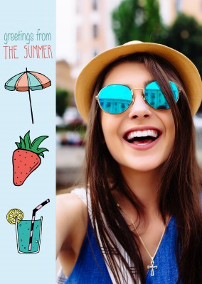 template with illustrated summer pictures on a blue background