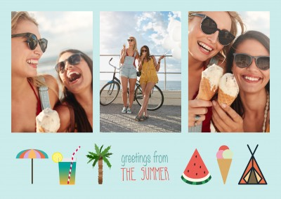 3 photo template with summer graphics like watermelon on a blue background