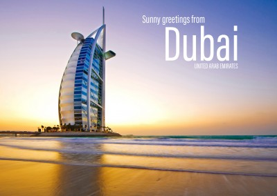 Postcard from Dubai with photo of the ocean