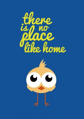 sweet little bird with big eyes and the quote there is no place like home