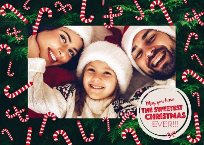 Sweetest Christmas frame with candy