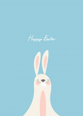 happy easterbunny on blue background wishing a happy easter